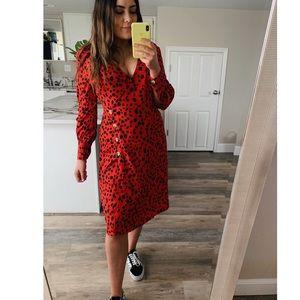 NWT Red Dalmatian midi wrap dress